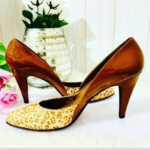 Stuart Weitzman Cheetah And Patent Leather Heels